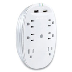 360 Electrical Studio 2.4 Surge Protector with USB, 6 AC Outlets, 2 USB Ports, 900 J, White/Pearl