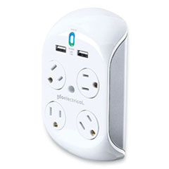 360 Electrical Revolve 3.4 Surge Protector, 4 AC Outlets, 2 USB Ports, 918 J, White/Gray
