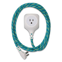 360 Electrical Habitat Accent Collection Braided AC/USB Extension Cord, 6 ft, 13 A, Mint Julep