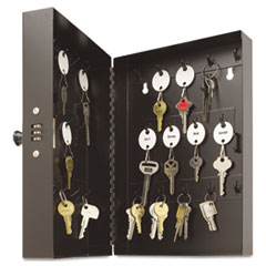 "Hook-Style Key Cabinet, 28-Key, Steel, Black, 7-3/4""w x  3-1/4""d x 11-1/2""h"