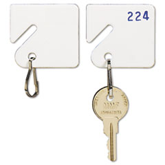 Slotted Rack Key Tags, Plastic, 1 1/2 x 1 1/2, White, 20/Pack