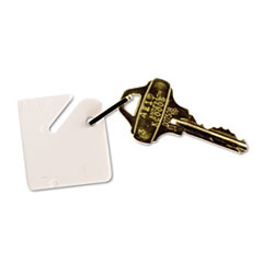 Numbered Slotted Rack Key Tags, Plastic, 1 1/2 x 1 1/2, White, 20/Pack