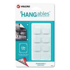 "VELCRO® Brand HANGables Removable Wall Fasteners, 0.75"" x 0.75"", White, 16/Pack"