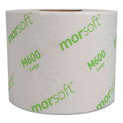 """Morcon Tissue Morsoft Controlled Bath Tissue, Septic Safe, 2-Ply, White, 3.9"""" x 4"""", 600 Sheets/Roll, 48 Rolls/Carton"""
