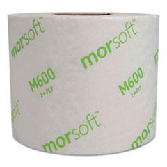 "Morcon Paper Morsoft Millennium Bath Tissue, Septic Safe, 2-Ply, White, 3.9"" x 4"", 600 Sheets/Roll, 48 Rolls/Carton"
