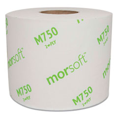 Morcon Tissue Morsoft Controlled Bath Tissue, Split-Core, Septic Safe, 2-Ply, White, Individually Wrapped, 750 Sheets/Roll, 48 Rolls/Carton