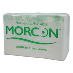 "Morcon Tissue Morsoft 1/4 Fold Lunch Napkins, 1 Ply, 11.5"" x 11.5"", White, 6,000/Carton"