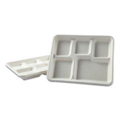 Boardwalk® Bagasse Molded Fiber Dinnerware, 5-Compartment Tray, 8 x 12, White, 500/Carton