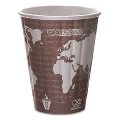 Eco-Products® World Art Renewable and Compostable Insulated Hot Cups, PLA, 8 oz, 40/Pack, 20 Packs/Carton