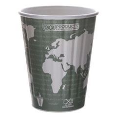 Eco-Products® World Art Renewable and Compostable Insulated Hot Cups, PLA, 12 oz, 40/Packs, 15 Packs/Carton
