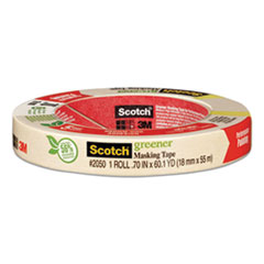 "Scotch® Greener Masking Tape 2050, 3"" Core, 0.7"" x 60 yds, Beige"