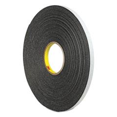 """3M™ 4466 Double-Coated Foam Tape, 1"""" Core, 1"""" x 5 yds, Black"""