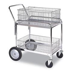 Wesco® Wire Office Cart, 2 Shelves, 23.75w x 33.5d x 38.25h, Chrome, 200 lb Capacity