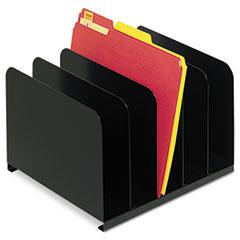 "Desktop Vertical Organizer, 5 Sections, Letter to Legal Size Files, 12"" x 11"" x 8.13"", Black"