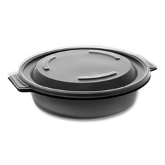 "Pactiv EarthChoice MealMaster Bowls with Lids, 16 oz, 7"" Diameter x 1.8""h, 1-Compartment, Black/Clear, 252/Carton"
