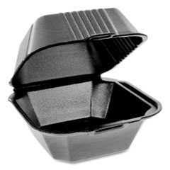 Pactiv SmartLock Foam Hinged Containers, Sandwich, 5.75 x 5.75 x 3.25, Black, 504/Carton