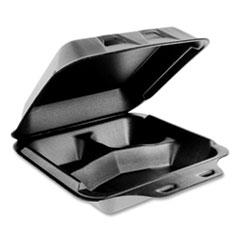 Pactiv SmartLock Foam Hinged Containers, Medium, 3-Compartment, 8 x 8.5 x 3, Black, 150/Carton
