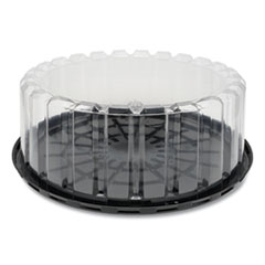 """Pactiv Round ShowCake 2-Part Cake Container, Shallow 10"""" Cake Container, 10"""" Diameter x 3.38""""h, Clear/Black, 90/Carton"""
