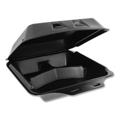 Pactiv SmartLock Foam Hinged Containers, Large, 3-Compartment, 9 x 9.5 x 3.25, Black, 150/Carton