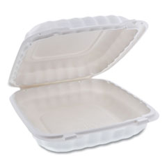 Pactiv EarthChoice SmartLock Microwavable Hinged Lid Containers, 9 x 9 x 3.1, White, 120/Carton