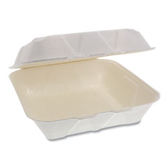 Pactiv EarthChoice Bagasse Hinged Lid Container, Dual Tab Lock Large Container, 9 x 9 x 3.5, Natural, 150/Carton