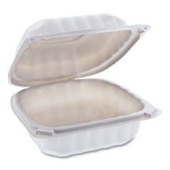 Pactiv EarthChoice SmartLock Microwavable Hinged Lid Containers, 6 x 6 x 3.1, White, 400/Carton