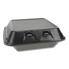 Pactiv SmartLock Foam Hinged Containers, Medium, 8 x 8.5 x 3, Black, 150/Carton