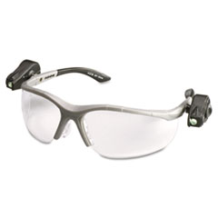 3M™ LightVision Safety Glasses w/LED Lights, Clear AntiFog Lens, Gray Frame