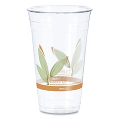 Dart® Bare RPET Cold Cups, Leaf Design, 24 oz, 50/Pack, 12 Packs/Carton