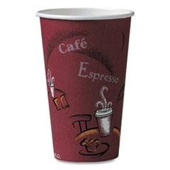 Dart® Solo Paper Hot Drink Cups in Bistro Design, 16 oz, Maroon, 1,000/Carton