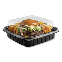 Anchor Packaging Crisp Foods Technologies Containers, 33 oz, 8.46 x 8.46 x 3.16, 1 Compartment, Clear/Black, 180/Carton