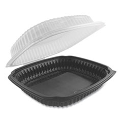 Anchor Packaging Culinary Lites Microwavable Container, 39 oz, 9 x 9 x 3.01, Clear/Black, 100/Carton