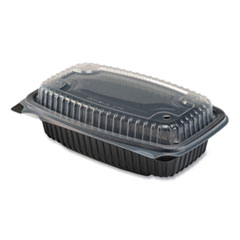 Anchor Packaging Culinary Lites Microwavable Container, 34 oz, 9.55 x 6.65 x 3.04, Clear/Black, 100/Carton