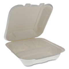 Pactiv EarthChoice Bagasse Hinged Lid Container, 3-Compartment, Dual Tab Lock, 7.8 x 7.8 x 2.8, Natural, 150/Carton