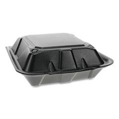 Pactiv Foam Hinged Lid Containers, Dual Tab Lock, 9 x 9 x 3.25, Black, 150/Carton