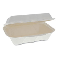 Pactiv EarthChoice Bagasse Hinged Lid Container, Dual Tab Lock, 9.1 x 6.1 x 3.3, Natural, 150/Carton