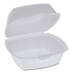 Pactiv Foam Hinged Lid Containers, Single Tab Lock, 5.13 x 5.13 x 2.5, White, 500/Carton