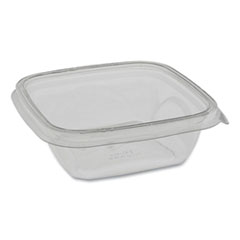 Pactiv EarthChoice Recycled PET Square Base Salad Containers, 5 x 5 x 1.63, 12 oz, Clear, 504/Carton