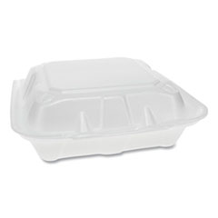Pactiv Foam Hinged Lid Containers, Dual Tab Lock, 3-Compartment, 8.42 x 8.15 x 3, White, 150/Carton