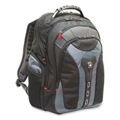 "Wenger® Pegasus Laptop Backpack, 17"", 9.4"" x 14.6"" x 18.9"", Black/Blue"