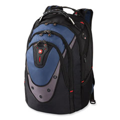 """Wenger® Ibex Laptop Backpack, 17"""" Laptop and 10"""" Tablet, 11"""" x 14.6"""" x 18.5"""", Black/Blue/Gray"""