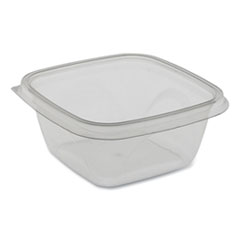 Pactiv EarthChoice Recycled PET Square Base Salad Containers, 5 x 5 x 1.75, 16 oz,  Clear, 504/Carton