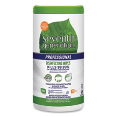 Seventh Generation® Professional Disinfecting Multi-Surface Wipes, 8 x 7, Lemongrass Citrus, 70/Canister