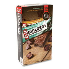 CLIF® Bar Builders Protein Bar, Chocolate Mint/Chocolate Peanut Butter, 2.4 oz Bar, 18 Bars/Box, Free Delivery in 1-4 Business Days