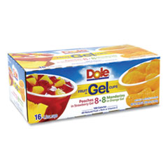 Dole® Fruit in Gel Cups, Mandarins/Orange, Peaches/Strawberry, 4.3 oz Cups, 16 Cups/Carton, Free Delivery in 1-4 Business Days