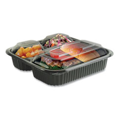 Anchor Packaging Culinary Squares 2-Piece/3-Compartment Microwavable Container, 21 oz/6 oz/6 oz, 8.46 x 8.46 x 2.5, Clear/Black, 150/Carton