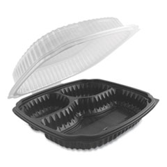 Anchor Packaging Culinary Lites Microwavable 3-Compartment Container, 26 oz/7 oz/7 oz, 9 x 9 x 3.01, Clear/Black, 100/Carton