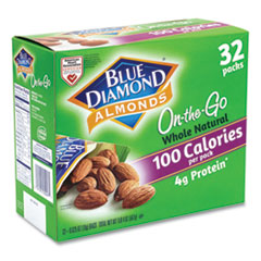 Blue Diamond® Whole Natural Almonds On-the-Go, 0.63 oz Pouch, 32 Pouches/Carton, Free Delivery in 1-4 Business Days