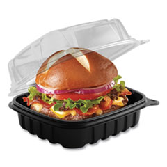 Anchor Packaging Culinary Basics Microwavable Container, 18 oz, 6.36 x 6.18 x 2.96, Clear/Black, 420/Carton