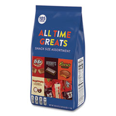 Hershey®'s All Time Greats Snack Size Assortment, 105 Pieces, 38.9 oz Bag, Free Delivery in 1-4 Business Days
